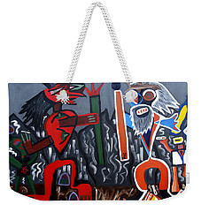 Weekender Tote Bag featuring the painting Pros Vs. Cons by Ryan Demaree