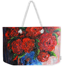 Weekender Tote Bag featuring the painting Red Scent by Vesna Martinjak