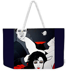 Weekender Tote Bag featuring the painting Relax  Lets Watch A Movie by Nora Shepley