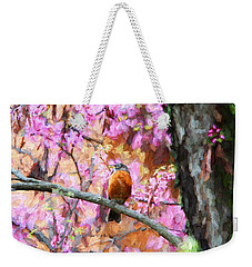 Robin In A Red Bud Tree Weekender Tote Bag