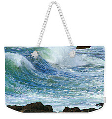 Weekender Tote Bag featuring the photograph Rough Seas by Mariarosa Rockefeller