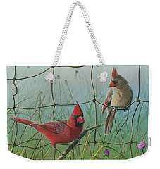 Weekender Tote Bag featuring the painting Scarlet by Mike Brown