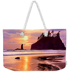 Silhouette Of Sea Stacks At Sunset Weekender Tote Bag by Panoramic Images