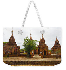 Weekender Tote Bag featuring the photograph Smaller Temples Next To Dhammayazika Pagoda Built In 1196 By King Narapatisithu Bagan Burma by Ralph A  Ledergerber-Photography
