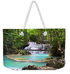 Stream With Waterfall In Tropical Forest Weekender Tote Bag