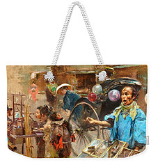 Weekender Tote Bag featuring the painting Street Market by Pg Reproductions