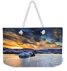 sunset at Jokulsarlon iceland Weekender Tote Bag