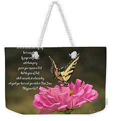 Swallowtail On A Zinnia Weekender Tote Bag by Debby Pueschel