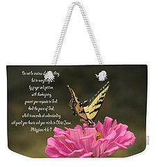 Swallowtail On A Zinnia Weekender Tote Bag
