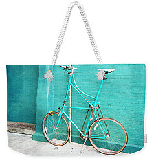 Weekender Tote Bag featuring the photograph Tall Bike On Aqua Blue Green by Brooke T Ryan