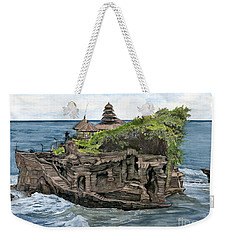 Weekender Tote Bag featuring the painting Tanah Lot Temple Bali Indonesia by Melly Terpening