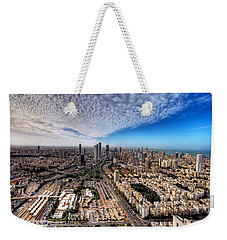 Weekender Tote Bag featuring the photograph Tel Aviv Skyline by Ron Shoshani