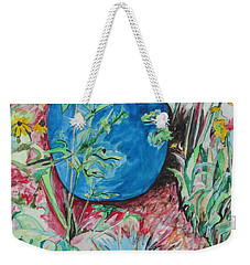 The Blue Flower Pot Weekender Tote Bag by Esther Newman-Cohen