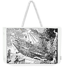 Weekender Tote Bag featuring the drawing The Flying Submarine by Reynold Jay