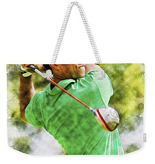 Tiger Woods Hits A Drive  Weekender Tote Bag