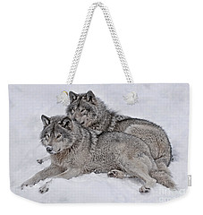 Timber Wolf Pair Weekender Tote Bag