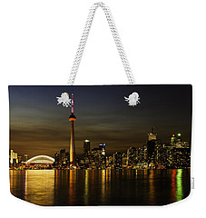 Toronto Evening Sky Line Panorama Weekender Tote Bag by Peter v Quenter