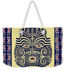 Weekender Tote Bag featuring the digital art Marquesas Tribal Spirits by Vagabond Folk Art - Virginia Vivier