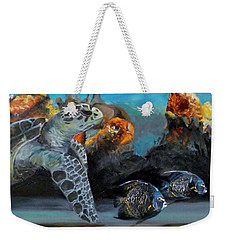 Weekender Tote Bag featuring the painting Underwater Beauty by Donna Tuten