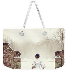 Victorian Woman In Snow Weekender Tote Bag