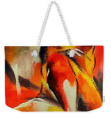 Weekender Tote Bag featuring the painting Waiting by Dragica  Micki Fortuna