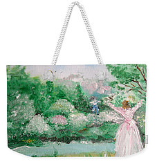 Weekender Tote Bag featuring the painting Welcome Home Love by Laurie L