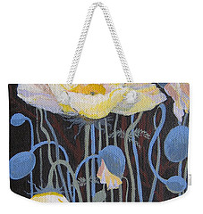 White Poppies Weekender Tote Bag by Marina Gnetetsky