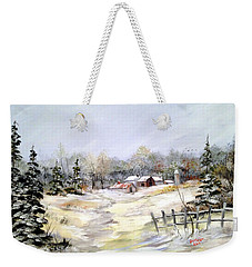 Winter At The Farm Weekender Tote Bag