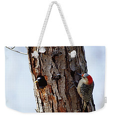Woodpecker And Starling Fight For Nest Weekender Tote Bag