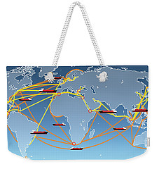 World Shipping Routes Map Weekender Tote Bag