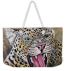 Weekender Tote Bag featuring the painting Yawn by Anthony Mwangi