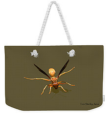 Weekender Tote Bag featuring the photograph Yellow Jacket Wasp by Tom Janca