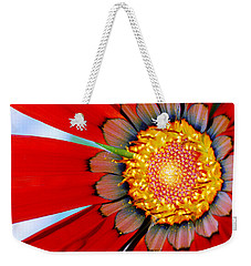 Weekender Tote Bag featuring the photograph Zinnia In Red by Wendy Wilton