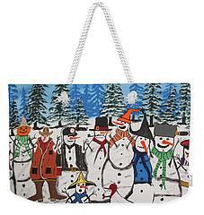 10 Christmas Snowmen  Weekender Tote Bag by Jeffrey Koss