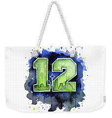 12th Man Seahawks Art Seattle Go Hawks Weekender Tote Bag by Olga Shvartsur
