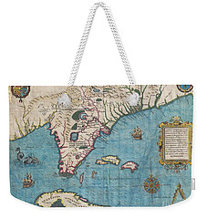 1591 De Bry And Le Moyne Map Of Florida And Cuba Weekender Tote Bag by Paul Fearn