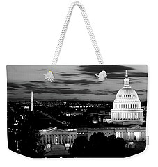 High Angle View Of A City Lit Weekender Tote Bag by Panoramic Images