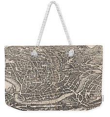 1652 Merian Panoramic View Or Map Of Rome Italy Weekender Tote Bag by Paul Fearn