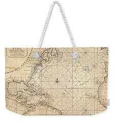1683 Mortier Map Of North America The West Indies And The Atlantic Ocean  Weekender Tote Bag