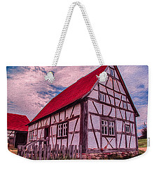 Weekender Tote Bag featuring the painting 1700s German Farm by Omaste Witkowski