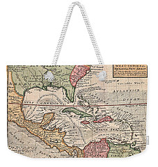 1732 Herman Moll Map Of The West Indies And Caribbean Weekender Tote Bag by Paul Fearn
