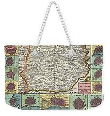 1747 La Feuille Map Of Catalonia Spain Weekender Tote Bag by Paul Fearn