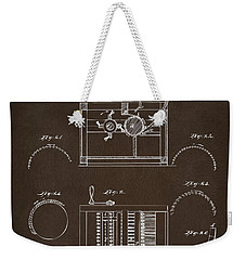 Weekender Tote Bag featuring the drawing 1794 Eli Whitney Cotton Gin Patent Espresso by Nikki Marie Smith