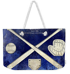1838 Baseball Drawing 2 Tone Blue Weekender Tote Bag