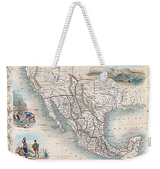 1851 Tallis Map Of Mexico Texas And California  Weekender Tote Bag by Paul Fearn