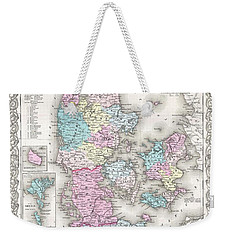 1855 Colton Map Of Denmark Weekender Tote Bag by Paul Fearn