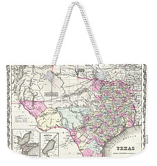 1855 Colton Map Of Texas Weekender Tote Bag by Paul Fearn
