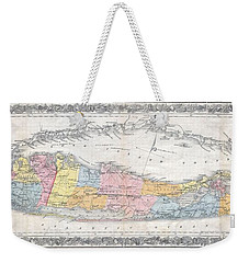 1857 Colton Travellers Map Of Long Island New York Weekender Tote Bag by Paul Fearn