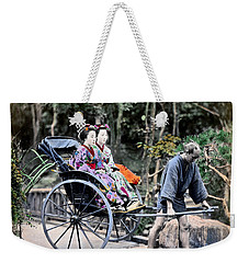 1870 Geisha Girls Traveling In Rickshaw Weekender Tote Bag by Historic Image