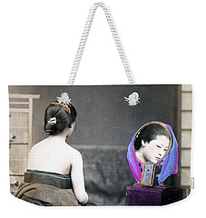 1870 Japanese Woman In Her Dressing Room Weekender Tote Bag by Historic Image